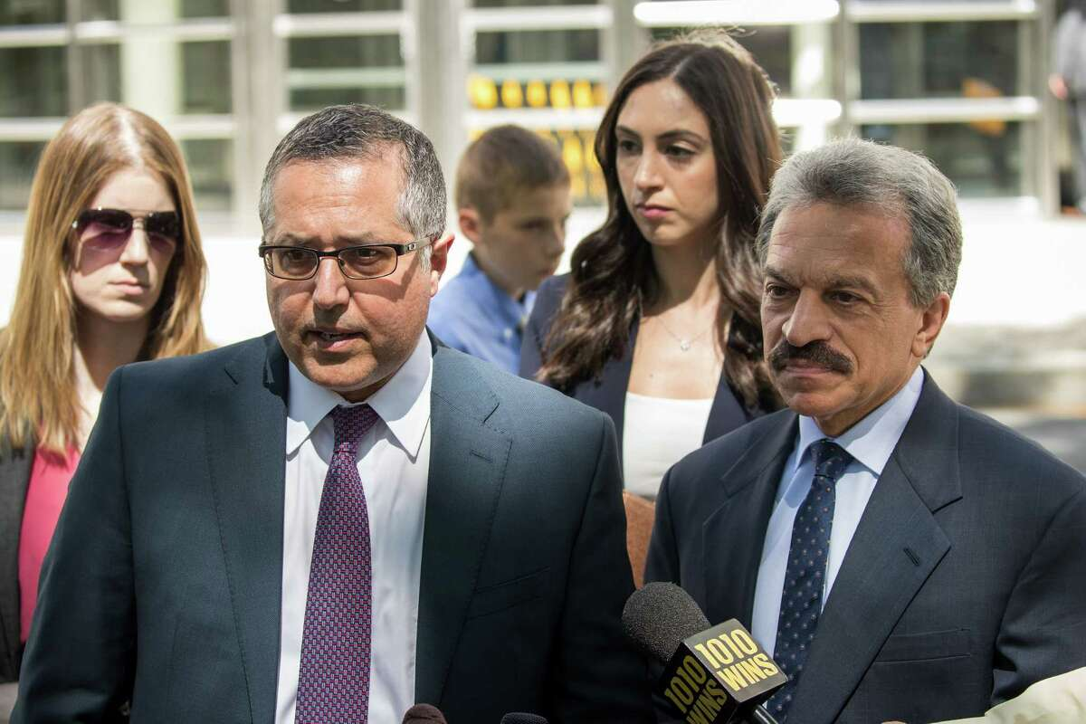 NEW YORK, NY - JUNE 12: Mark Agnifilo and Paul DerOhannesian, attorneys representing Keith Raniere and Allison Mack, speak to reporters following a status conference where Raniere was again denied bail, at the U.S. District Court for the Eastern District of New York, June 12, 2018 in the Brooklyn borough of New York City. Mack was charged in April with sex trafficking for her involvement with a self-help organization for women that forced members into sexual acts with their leader. The group, called Nxivm, was led by founder Keith Raniere, who was arrested in March on sex-trafficking charges. (Photo by Drew Angerer/Getty Images)