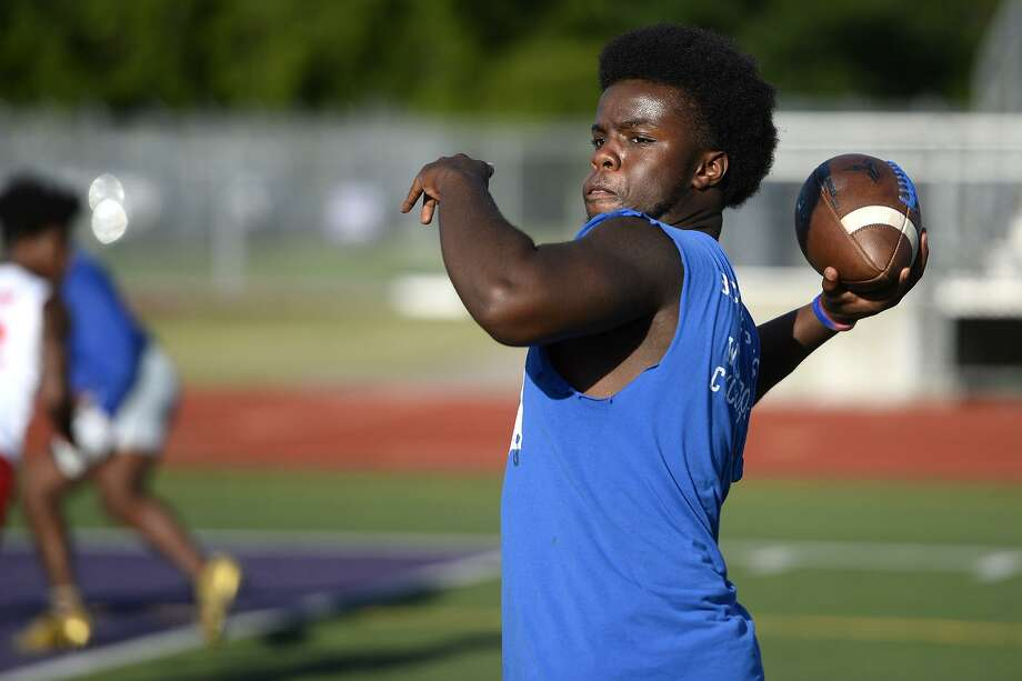 West Brook quarterback Troy Yowman throws in a 7-on-7 football game against Port Neches-Groves at Indian Stadium.  Photo taken Tuesday 6/12/18  Ryan Pelham/The Enterprise Photo: Ryan Pelham / The Enterprise / ©2018 The Beaumont Enterprise