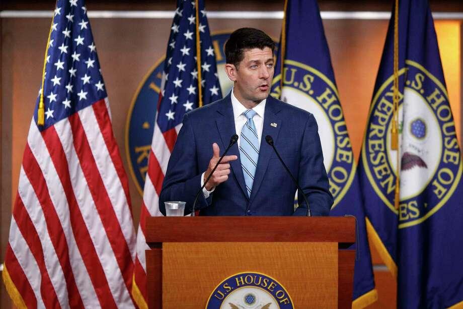 FILE -- House Speaker Paul Ryan (R-Wis.) speaks to reporters on Capitol Hill in Washington, June 7, 2018. (Tom Brenner/The New York Times) Photo: TOM BRENNER / NYTNS
