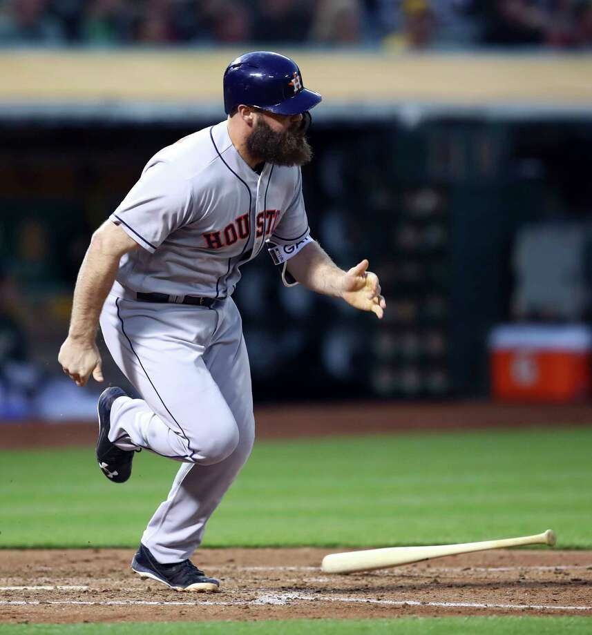 Houston Astros' Evan Gattis runs after hitting a two-run double off Oakland Athletics' Daniel Mengden during the fifth inning of a baseball game Tuesday, June 12, 2018, in Oakland, Calif. (AP Photo/Ben Margot) Photo: Ben Margot, Associated Press / Copyright 2018 The Associated Press. All rights reserved.