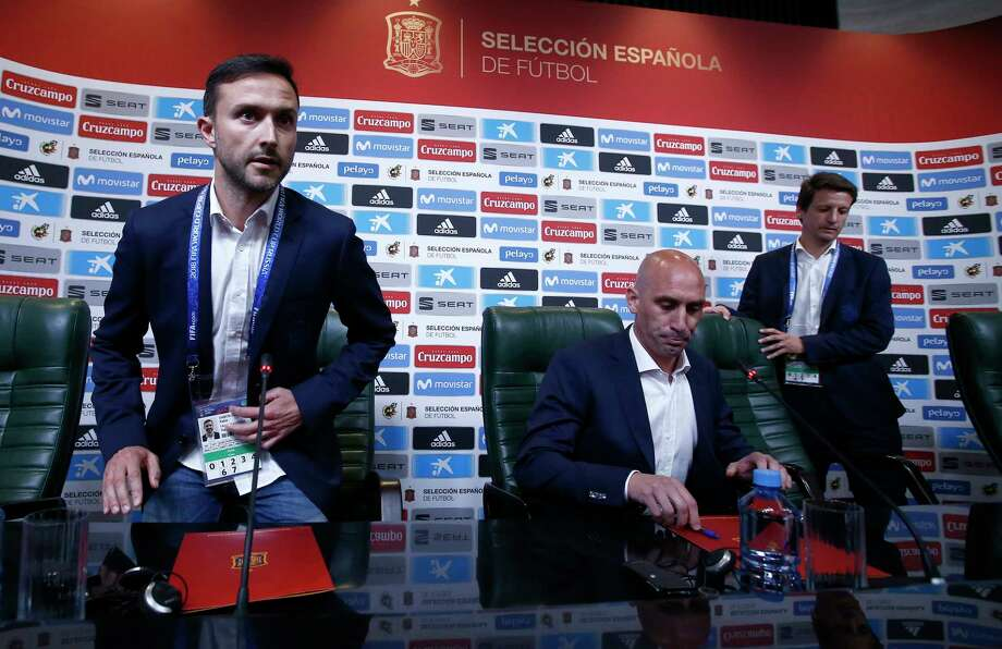 Spanish football president Luis Rubiales, center, attends a press conference at the 2018 soccer World Cup in Krasnodar, Russia, Wednesday, June 13, 2018. The Spanish soccer federation has fired coach Julen Lopetegui two days before the country's opening World Cup match against Portugal. Lopetegui was let go a day after Real Madrid announced him as its new coach following the World Cup. Photo: Manu Fernandez, AP / Copyright 2018 The Associated Press. All rights reserved.