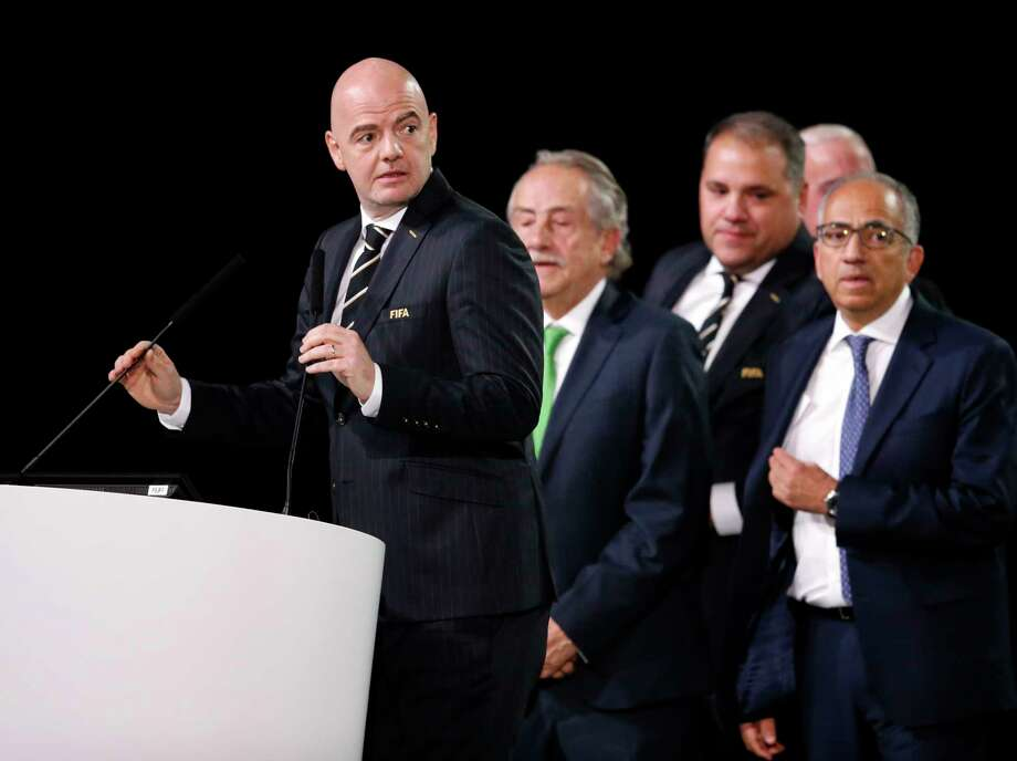 FIFA President Gianni Infantino speaks in front of North America soccer officials at the FIFA congress on the eve of the opener of the 2018 soccer World Cup in Moscow, Russia, Wednesday, June 13, 2018. The congress in Moscow is set to choose the host or hosts for the 2026 World Cup. Photo: Alexander Zemlianichenko, AP / AP