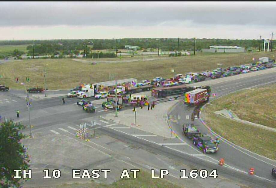 An overturned 18-wheeler is causing delays at I-10 East and Loop 1604.