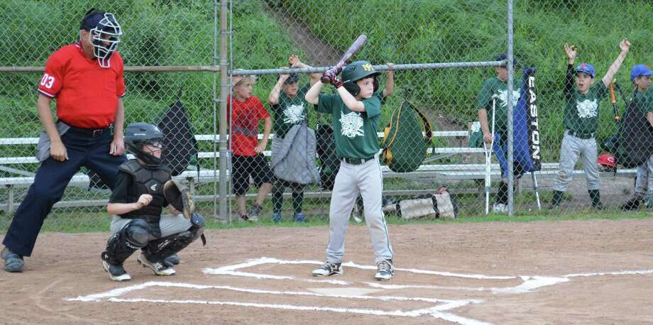 Nick Allen of New Milford Youth Baseball & Softball's Minors AAA division All-Star green team awaits a pitch. Photo: Courtesy Of Jessica Higgins / www.jessicahigginsphotography