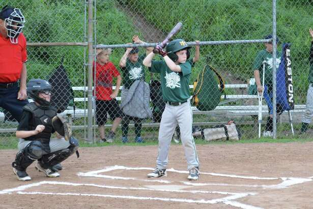 Nick Allen of New Milford Youth Baseball & Softball's Minors AAA division All-Star green team awaits a pitch.