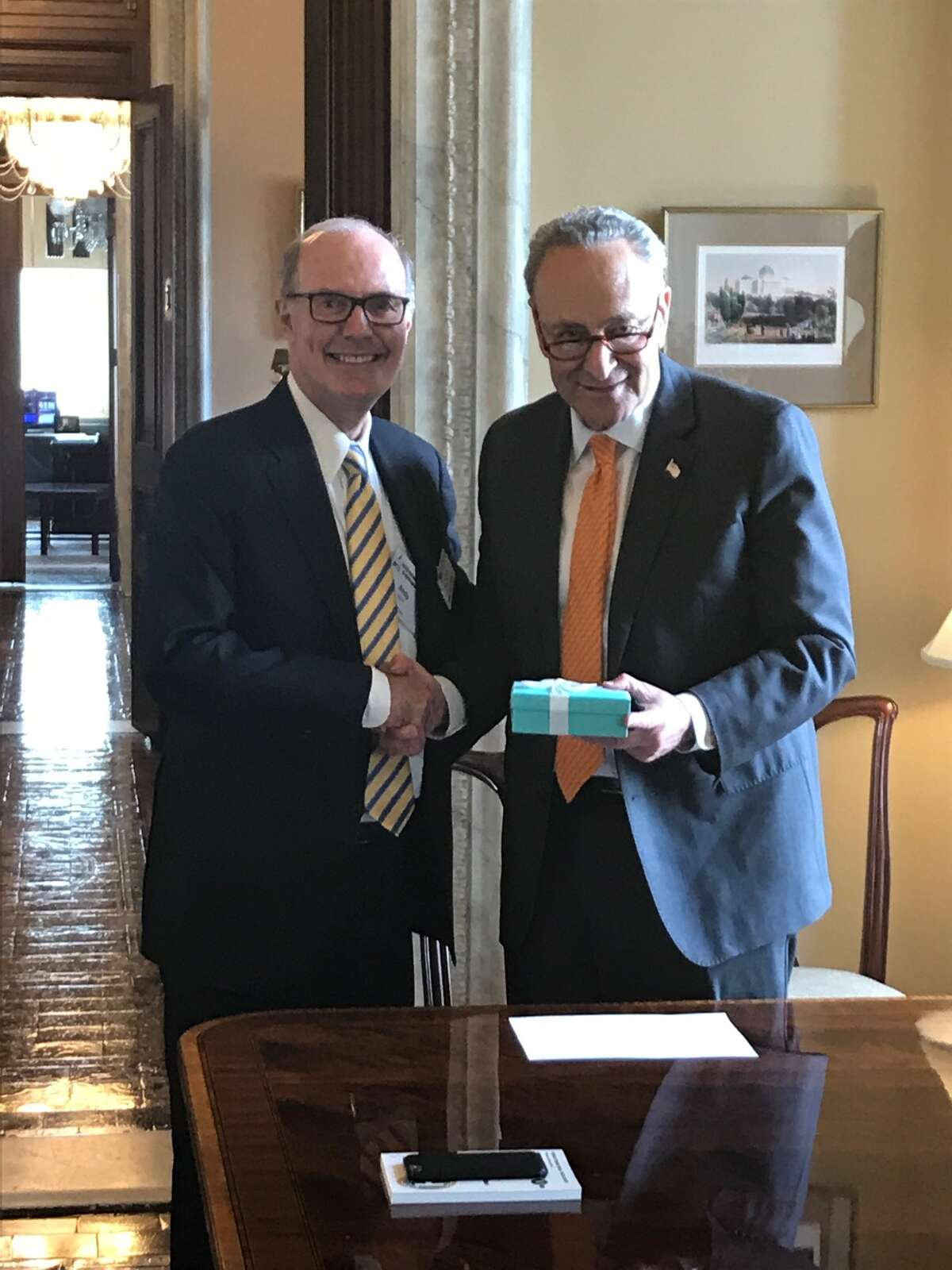 Plug Power CEO Andy Marsh, left, with U.S. Sen. Chuck Schumer of New York in Washington, D.C. Marsh presented Schumer with a special award for pushing through a tax credit on fuel cell purchases.