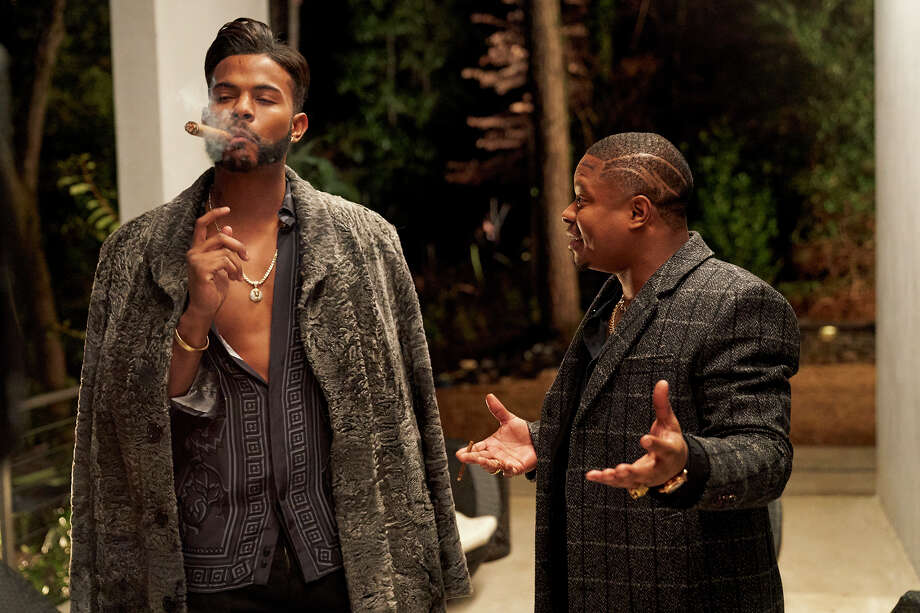 "Trevor Jackson, left, who plays a powerful drug dealer, and Jason Mitchell, his partner, in ""Superfly."" Photo: Bob Mahoney, Sony Pictures Entertainment / Sony Pictures Entertainment"
