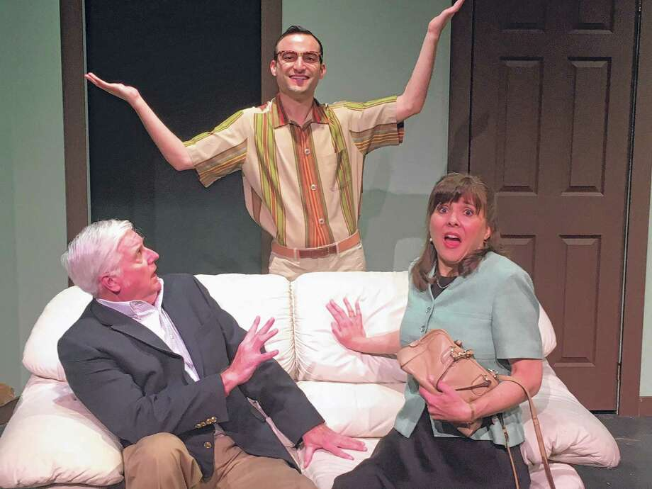 "L to R  Steve King, Brett Epstein, Jean Garner in ""The Nerd"" at The Theatre Barn."