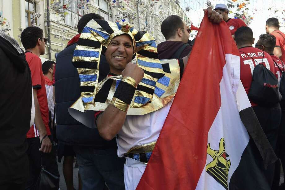 Egypt's national football team fans cheer on Nikolskaya street in downtown Moscow on June 13, 2018, ahead of the Russia 2018 World Cup football tournament. Photo: Natalia Kolesnikova /AFP /Getty Images / AFP or licensors