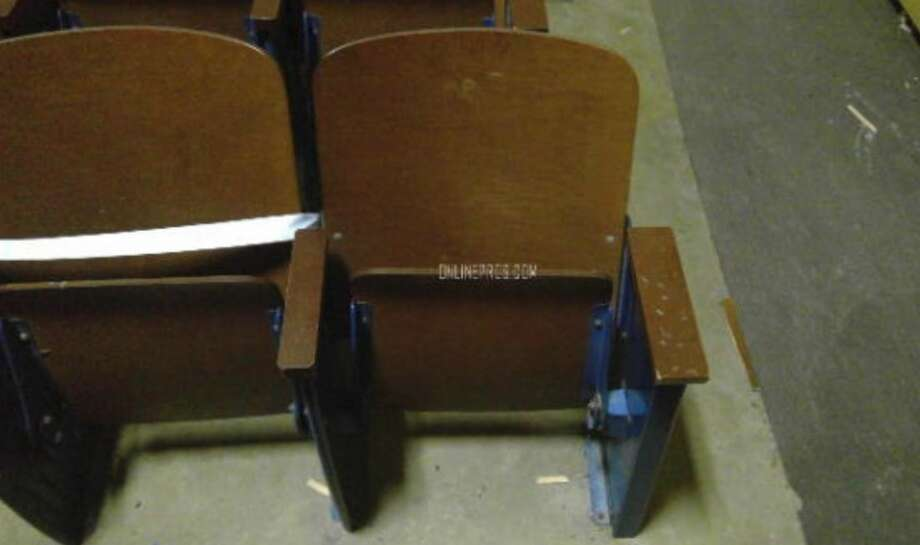 Auditorium chairs from Ozen High School are available at auction through Friday, June 15, 2018.