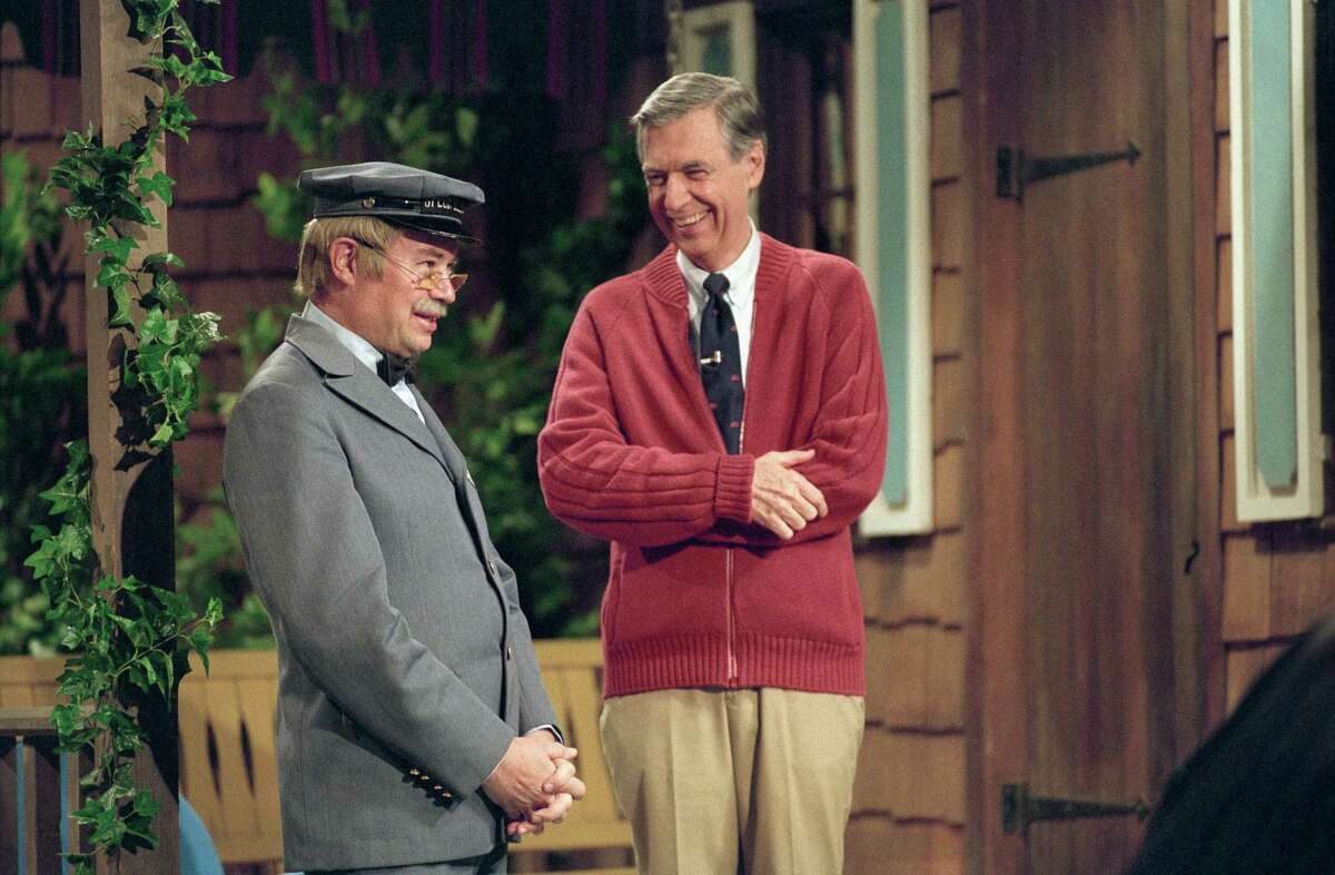 """David Newell, as Mr. McFeely, left, and Fred Rogers on the set of """"Mister Rogers' Neighborhood,"""" from the film, """"Won't You Be My Neighbor."""""""