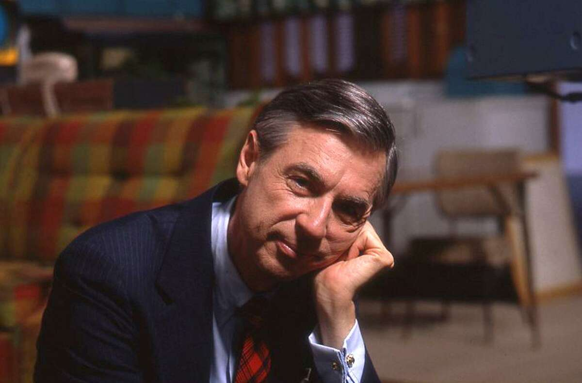 """Fred Rogers on the set of his show """"Mr. Rogers Neighborhood"""" from the film, """"Won't You Be My Neighbor."""""""