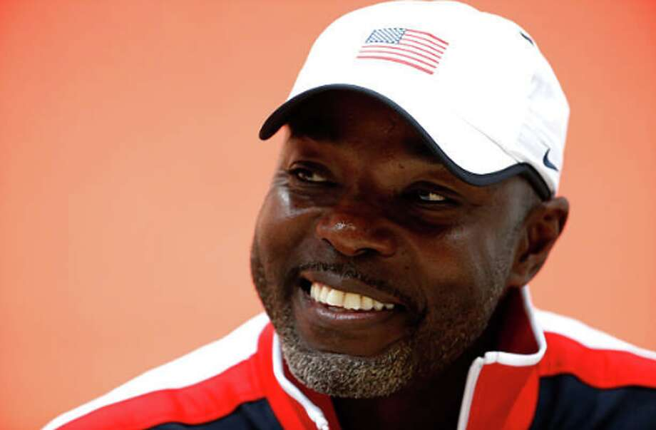 BEIJING, CHINA - AUGUST 21: Head coach Edrick Floreal of the United States answers questions during the United States news conference ahead of the 15th IAAF World Athletics Championships Beijing 2015 at the Beijing National Stadium on August 21, 2015 in Beijing, China. (Photo by Christian Petersen/Getty Images for IAAF) Photo: Getty Images