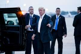 President Donald Trump arrives back at Joint Base Andrews in Maryland following his meeting with Kim Jong Un, the North Korean leader, in Singapore, June 13, 2018. Trump returned to the U.S. early on Wednesday praising his diplomatic prowess via Twitter after his meeting with the North Korean leader and declaring, �There is no longer a Nuclear Threat� from Pyongyang. (Doug Mills/The New York Times)