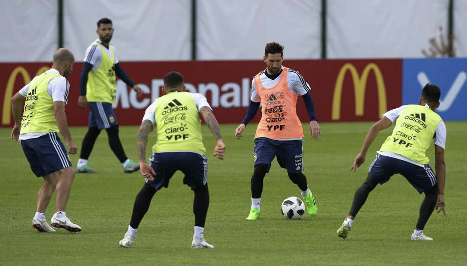 Argentina's forward Lionel Messi takes part in a training session at the team's base camp in Bronnitsy, near Moscow this week. Photo: Getty Images / AFP or licensors