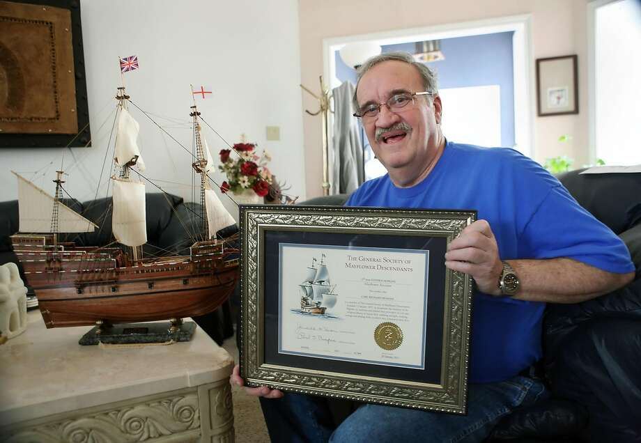 Rick Denham of Midland, Texas shows a certificate that he is a descendant of a Mayflower pilgrim. Photo: Cindeka Nealy / Midland Reporter-Telegram