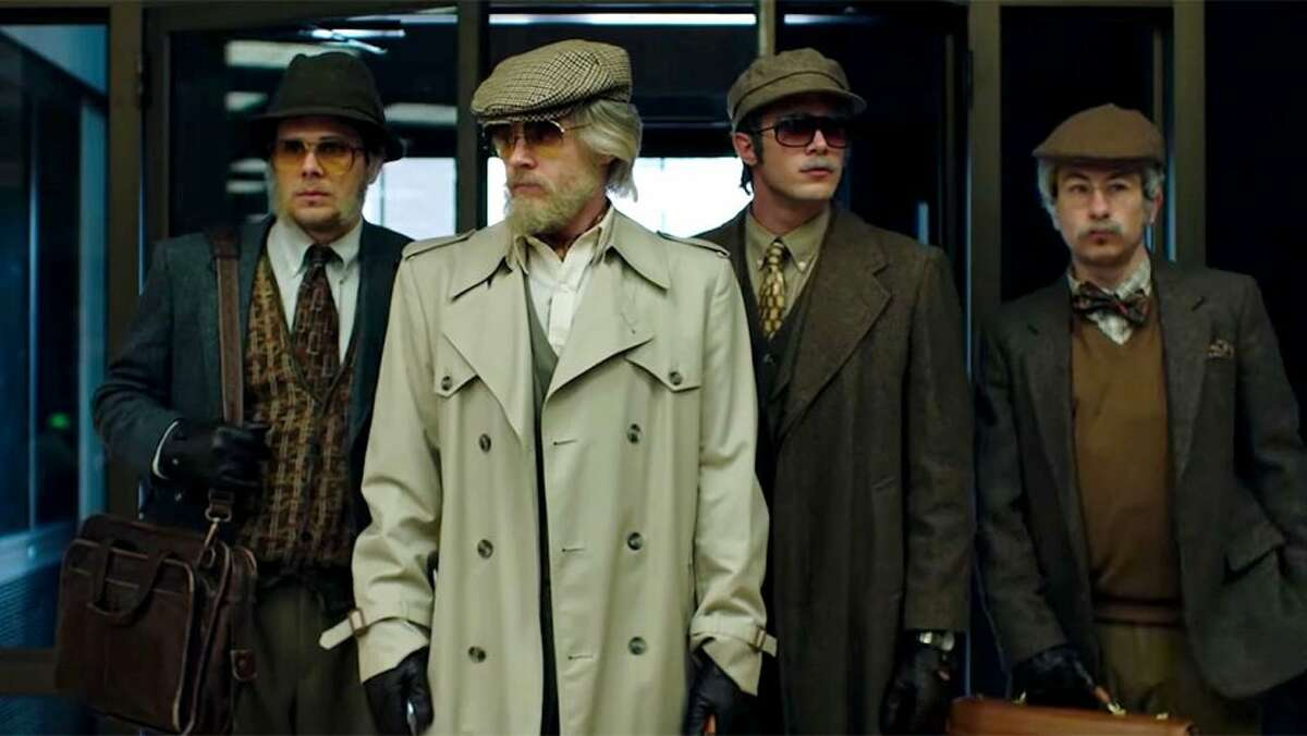 Four college kids dress up as elderly men to pull off a heist in 'American Animals.'