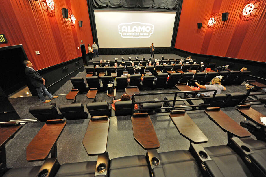 Interior of one of the auditoriums at the new Alamo Drafthouse in LaCenterra (photo by Craig Moseley).