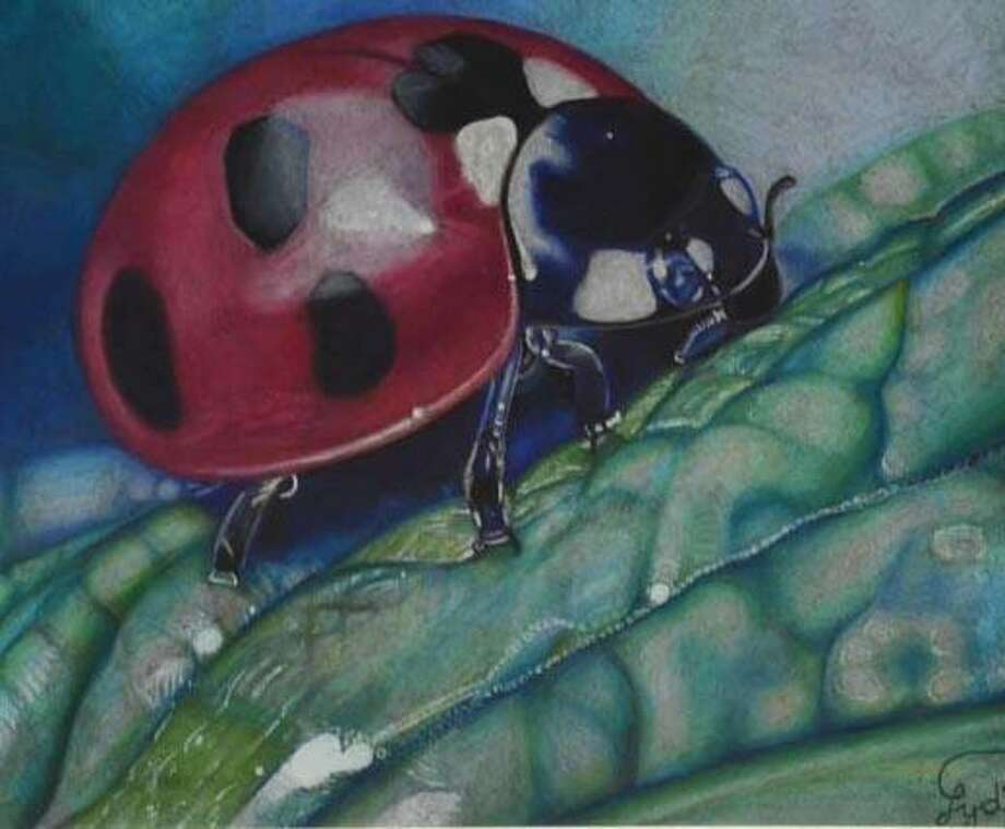 """An acrylicpainting by Lydia Derksen titled """"Lady Bug."""" Lydia isthe featured artist for June at the Conroe Art League's Gallery at the Madeley Building in downtown Conroe. Photo: Photo By John Hallett"""