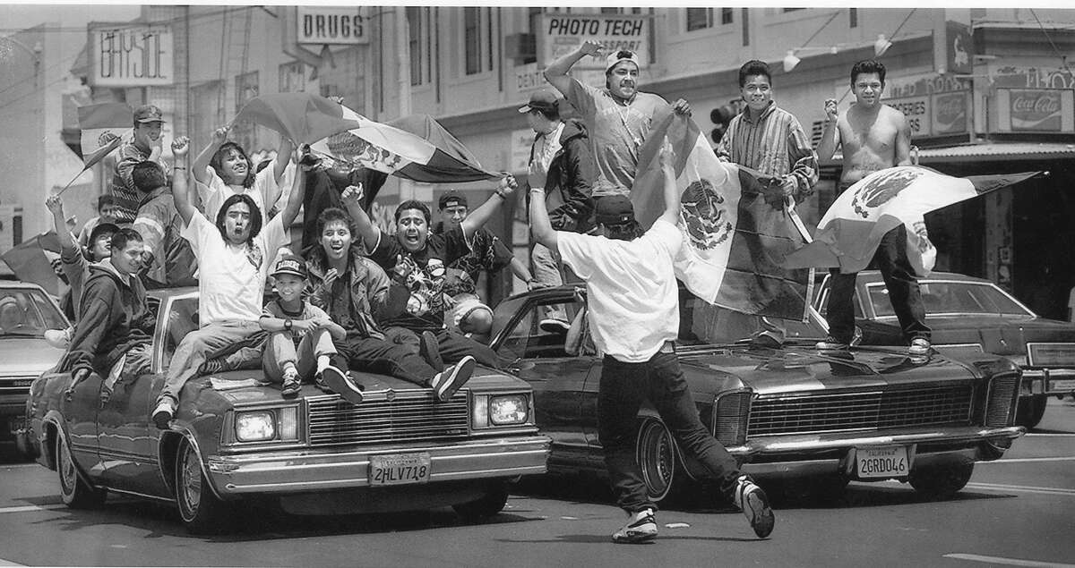 Mexico World Cup team fans celebrate inthe Mission District after their team won overIreland 2-1, June 24, 1994