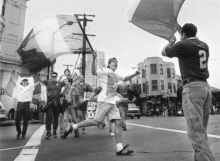 Italian fans celebrate in North Beach after their team won over Bulgaria 2-1, July 13, 1994