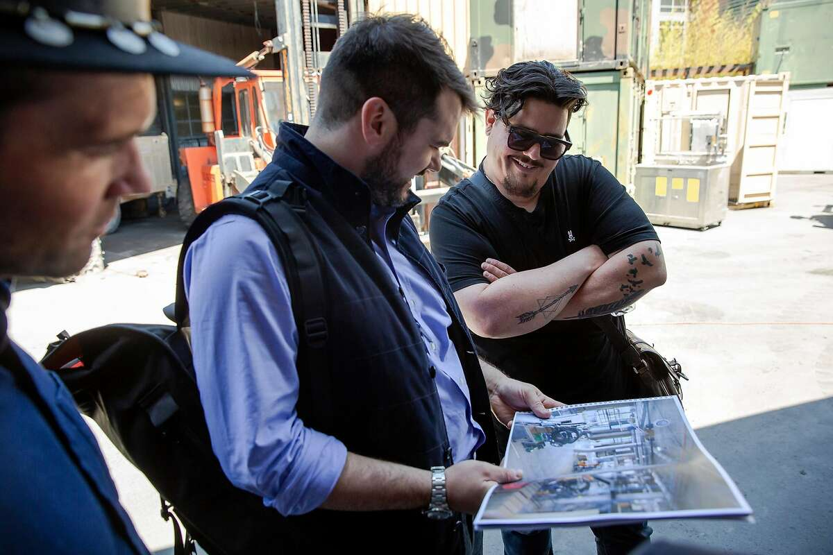 Ryan Spurlock (right), founder and executive director of Humanmade, and John Fisher discuss plans and construction for the future site of Humanmade on De Haro Street in San Francisco, Calif. on Monday June 11, 2018. Humanmade is a non-profit community based manufacturing and prototyping studio offering access to light manufacturing tools as well as industry training. Thursday, June 14, the San Francisco Planning Commission Hearing will decide whether to approve or disapprove the groups applications for conditional use purposes of both office use and light industrial work for the location.