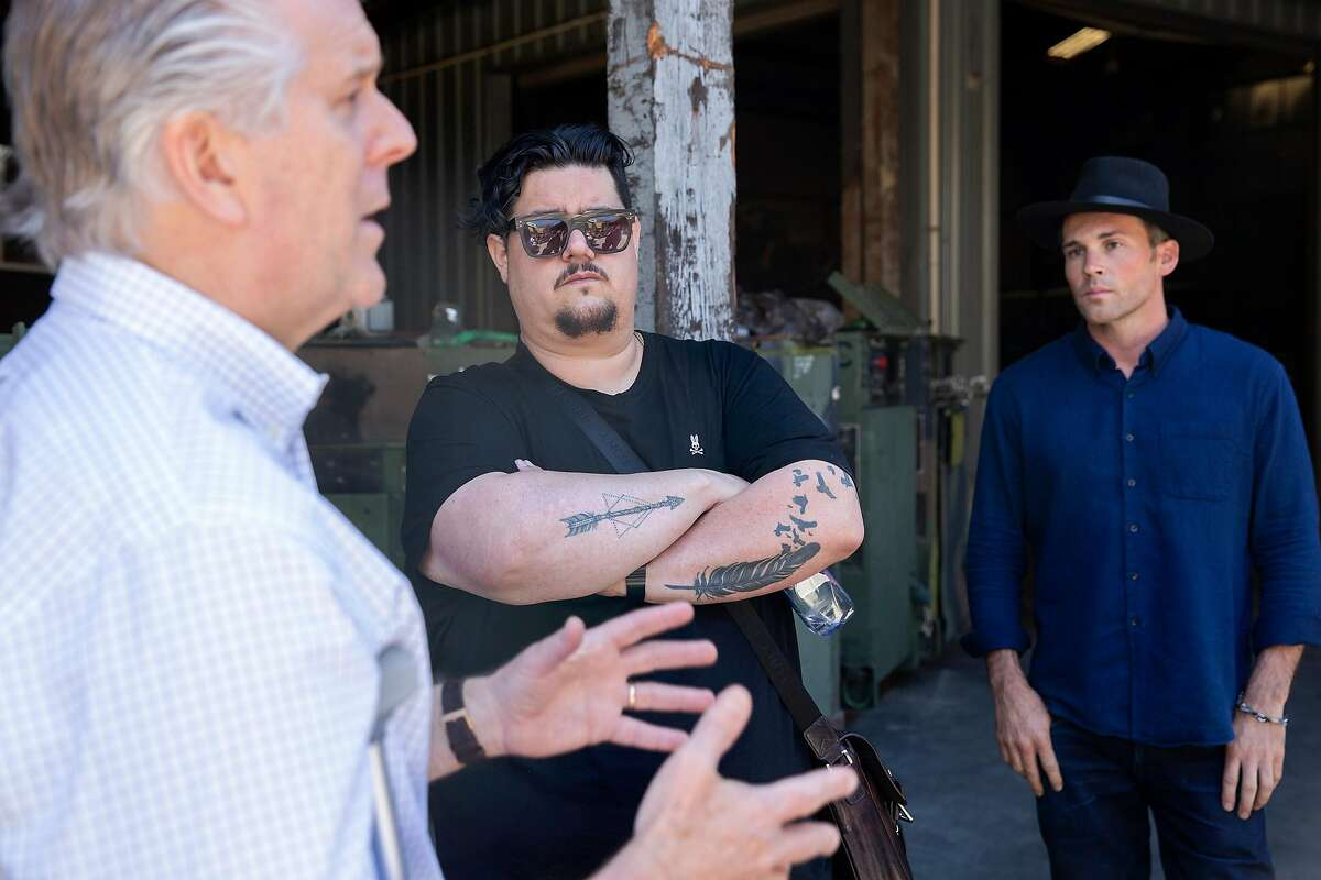 Dan Kingsley (left), Ryan Spulock and Joshua Lonetree discuss the process of creating the group Humanmade at it's possible future site on De Haro Street in San Francisco, Calif. on Monday June 11, 2018. Humanmade is a non-profit community based manufacturing and prototyping studio offering access to light manufacturing tools as well as industry training. Thursday, June 14, the San Francisco Planning Commission Hearing will decide whether to approve or disapprove the groups applications for conditional use purposes of both office use and light industrial work for the location.