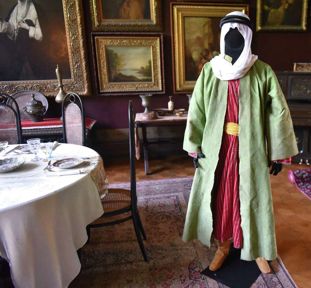 """Visitors to Olana State Historic Site can explore 19th century Middle Eastern clothing through The Olana Partnership's special exhibition for this year, """"COSTUME & CUSTOM: Middle Eastern Threads at Olana."""" The exhibit, which features clothing collected by Frederic Church during his Middle Eastern travels in 1867 and 1868, will be open to the public from June 17 to Nov. 25. (Massarah Mikati / Times Union)"""