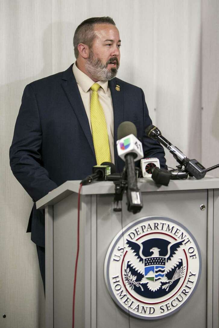 Special Agent in Charge Shane M. Folden, HSI San Antonio speaks at a press conference June 13, 2018. The press conference was held to provide information regarding dozens of suspected smuggled aliens discovered Tuesday night inside a tractor-trailer in a Northeast San Antonio alleyway.