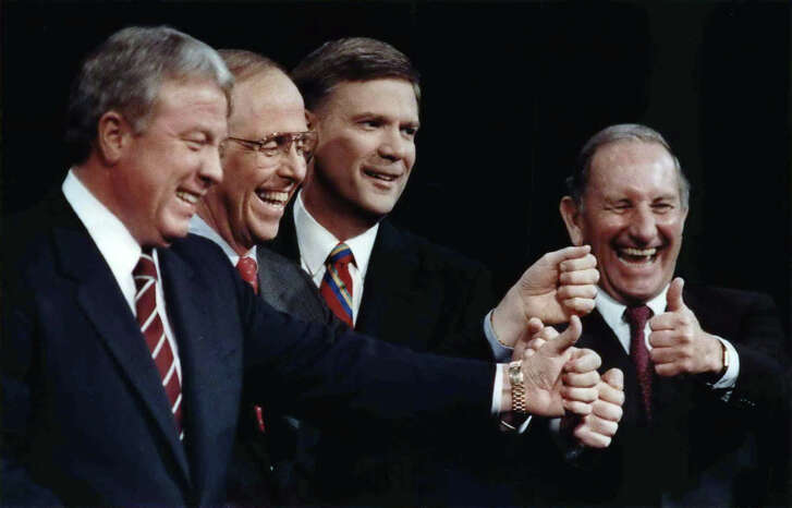From 1990: Republican gubernatorial candidates gather before a debate Thursday night. From left are former Texas Secretary of State Jack Rains, Railroad Commissioner Kent Hance, Dallas attorney Tom Luce and Midland businessman Clayton Williams.