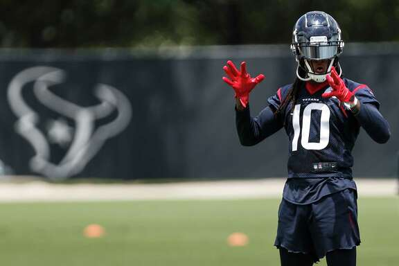Houston Texans wide receiver DeAndre Hopkins lines up to run a pass route during mini camp at The Methodist Training Center on Wednesday, June 13, 2018, in Houston.