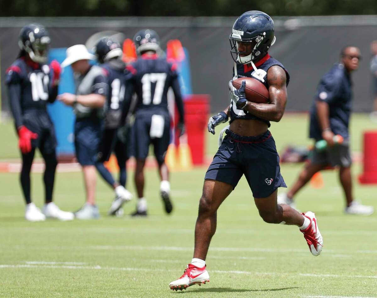 Houston Texans wide receiver Keke Coutee runs upfield after making a catch during mini camp at The Methodist Training Center on Wednesday, June 13, 2018, in Houston.