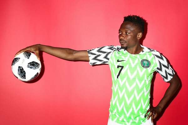 YESSENTUKI, RUSSIA - JUNE 12:  Ahmed Musa of Nigeria poses during the official FIFA World Cup 2018 portrait session on June 12, 2018 in Yessentuki, Russia.  (Photo by Ryan Pierse - FIFA/FIFA via Getty Images)
