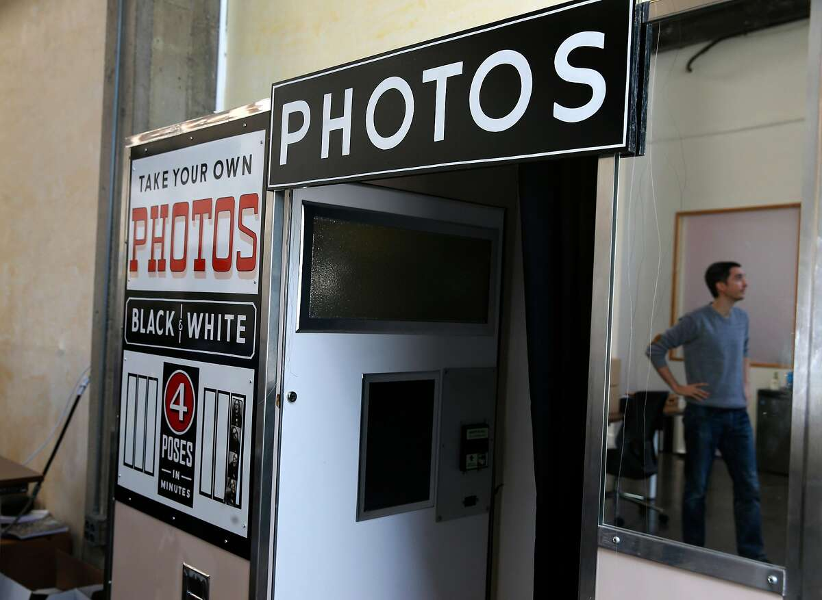 A vintage photo booth is installed at the new offices of Flickr on Fremont Street in San Francisco, Calif. on Wednesday, June 13, 2018. The photo sharing site was recently acquired by SmugMug.