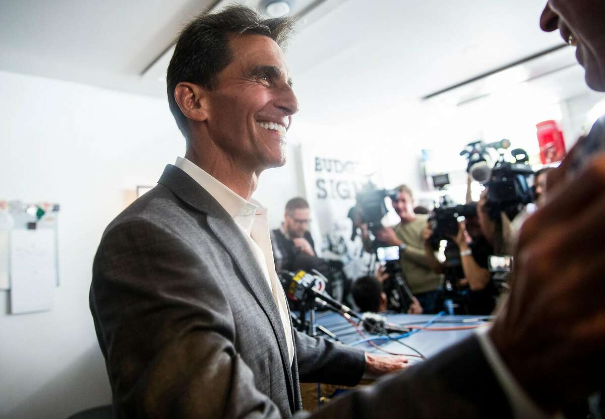 San Francisco mayoral candidate Mark Leno thanks members of his campaign after announcing his concession to London Breed during a press conference held at his store, Budget Signs, in San Francisco, Calif. Wednesday, June 13, 2018.