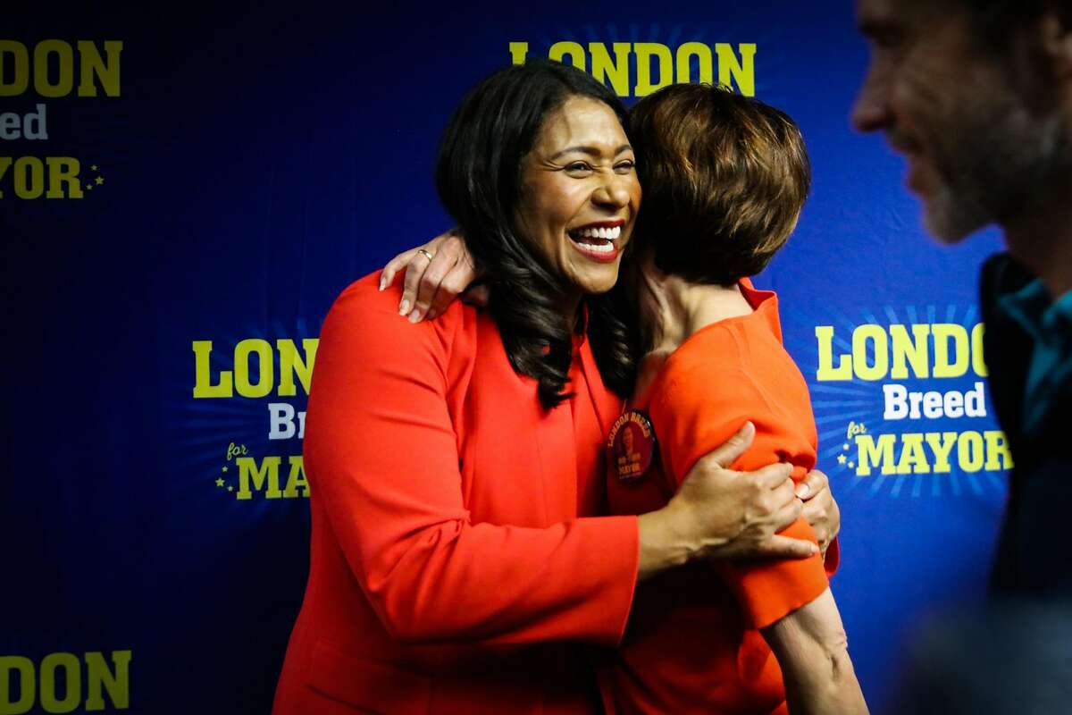 Mayor-elect London Breed embraces a supporter at her election party in San Francisco on Tuesday, June 5, 2018.