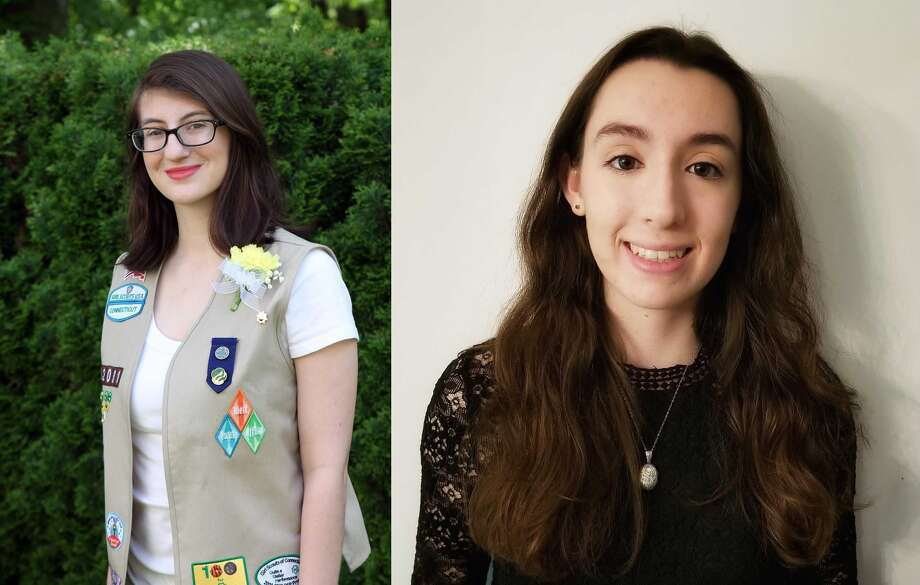 Local Girl Scouts Emily Rovillo (East Hampton) and Erin Prendergast (Essex) were awarded Gold Status, the highest honor in Girl Scouts. Photo: Contributed Photo