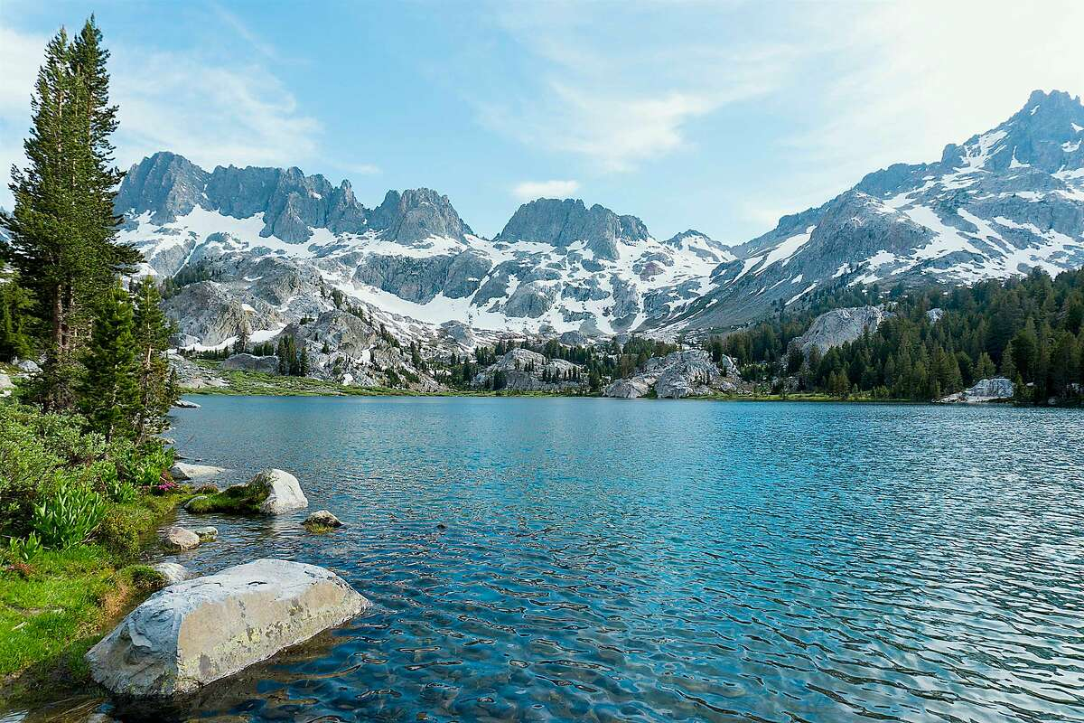 Ediza Lake in the Ansel Adams Wilderness sits at the foot of the Minarets in the high Sierra, where access is now available out of Red's Meadows near Mammoth Lakes