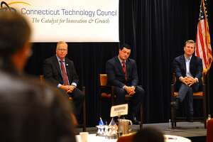 From left; Republican candidates for governor Mark Boughton, Tim Herbst, and Steve Obsitnik field questions from the audience during a gubernatorial forum sponsored by the CT Technology Council at the Trumbull Marriott in Trumbull, Conn. on Wednesday, June 13, 2018.