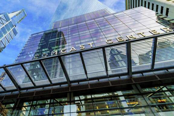 In this image released on Wednesday, June 13, 2018, general views of the Comcast Center, Comcast headquarters, located in Philadelphia.
