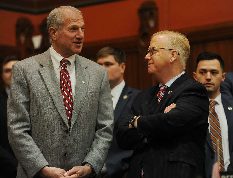 Republican gubernatorial candidates Shelton Mayor Mark Lauretti, left, and Danbury Mayor Mark Boughton chat before the annual State of the State address during the opening session of the state legislature at the Capitol in February. Photo: Brian A. Pounds / Hearst Connecticut Media / Connecticut Post