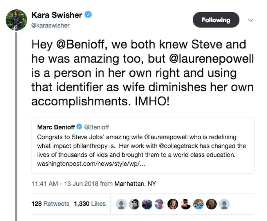 San Francisco tech journalist Kara Swisher has a lot of people talking on Twitter about whether it's politically incorrect to identify a woman by the name of her husband. Photo: Twitter Screen Grab