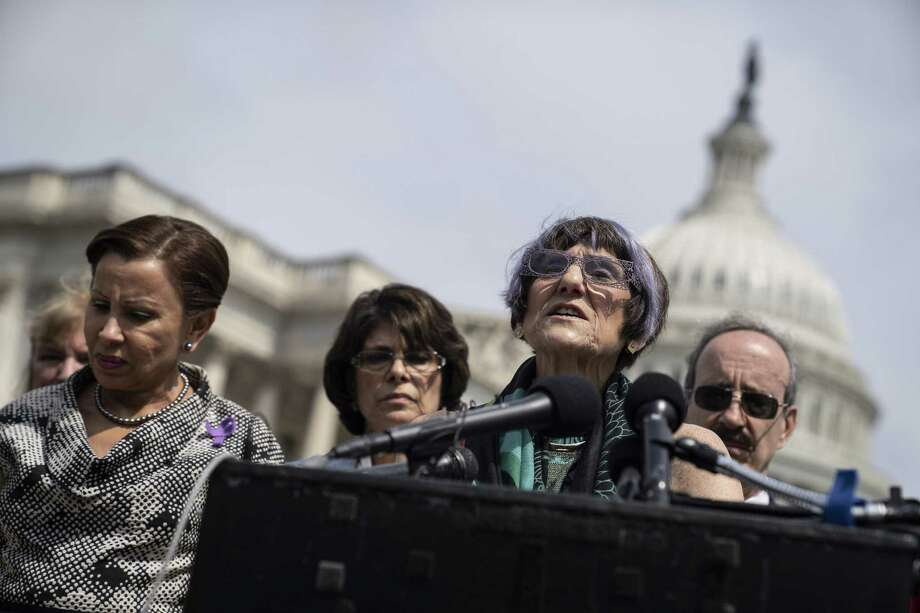 "Rep. Rosa DeLauro,(D-CT) speaks during a news conference on immigration to condemn the Trump Administration's ""zero tolerance"" immigration policy, outside the US Capitol on June 13, 2018 in Washington, DC. Photo: Toya Sarno Jordan / Getty Images / 2018 Getty Images"