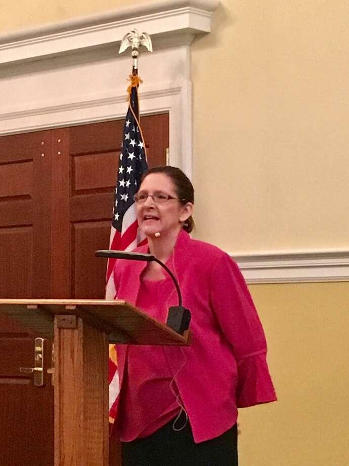 Superintendent of Schools Jill Gildea speaks before the Retired Men's Association on Wednesday. Photo: Jo Kroeker /