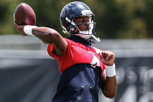 Houston Texans quarterback Deshaun Watson throws a pass during mini camp at The Methodist Training Center on Wednesday, June 13, 2018, in Houston. ( Brett Coomer / Houston Chronicle )