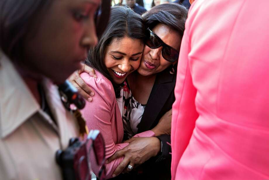 Breed hugs San Francisco Port Commission President Kimberly Brandon following a press conference Wednesday, June 13, 2018 at City Hall in San Francisco, Calif. after fellow candidate Mark Leno called Breed to concede to her. Photo: Jessica Christian / The Chronicle