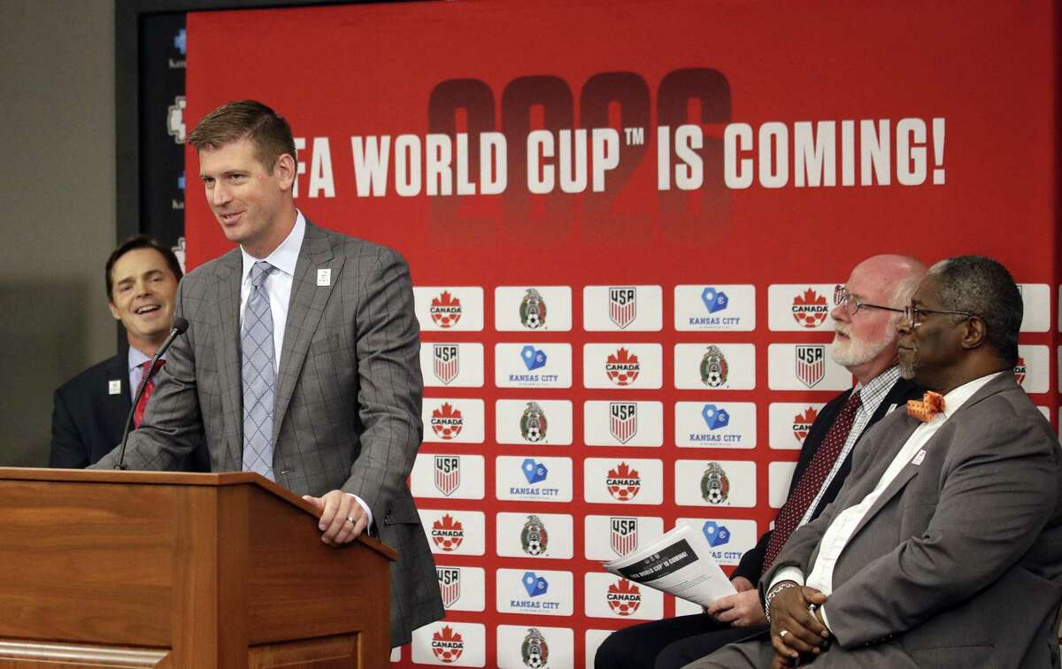 Sporting Kansas City President and CEO Jake Reid speaks during a news conference after North America's successful bid to land the 2026 World Cup, at Arrowhead Stadium after in Kansas City, Mo., Wednesday, June 13, 2018. (AP Photo/Orlin Wagner)
