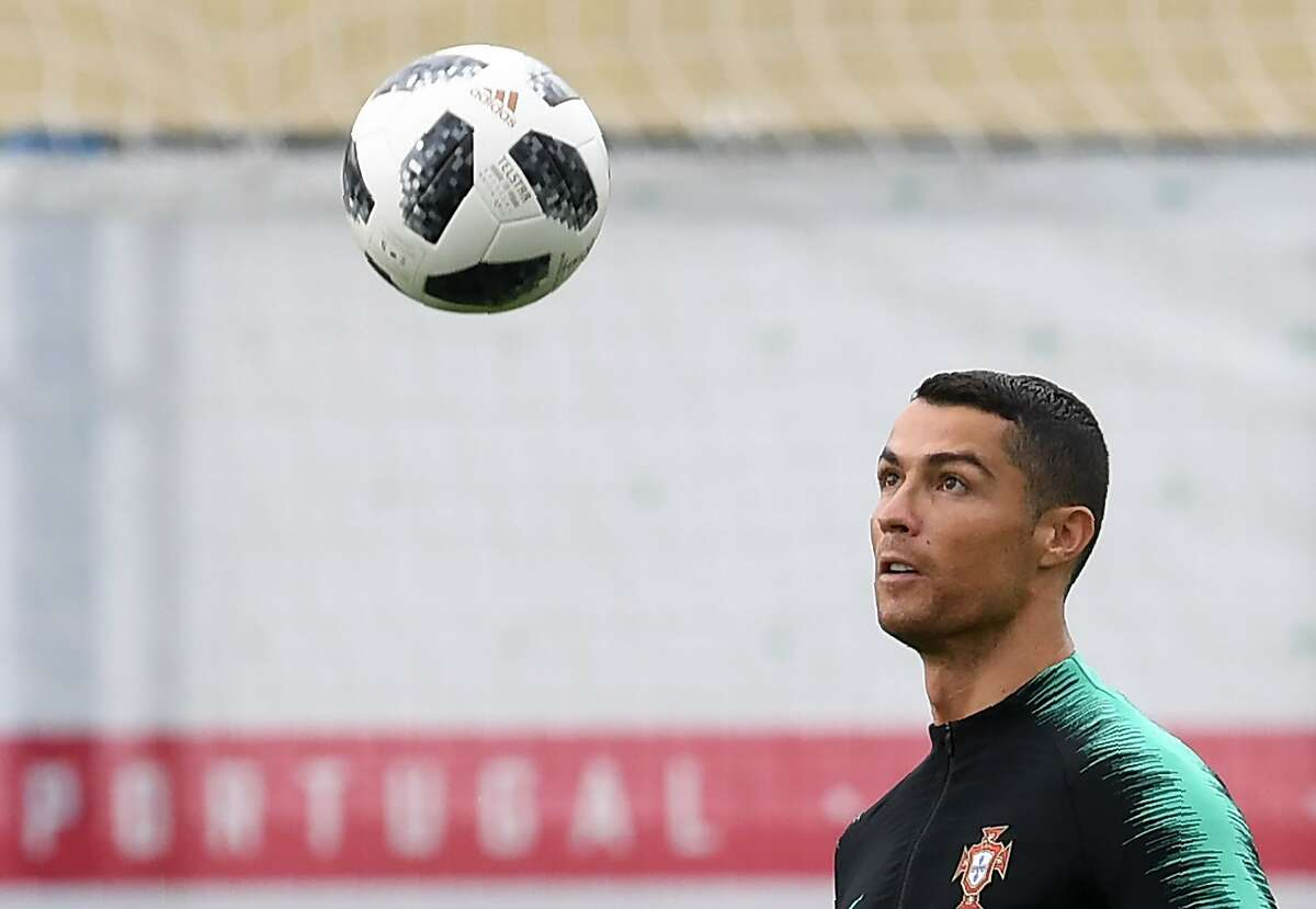Portugal's forward Cristiano Ronaldo eyes the ball during training session in Kratovo, on June 13, 2018, ahead of the Russia 2018 World Cup football tournament.