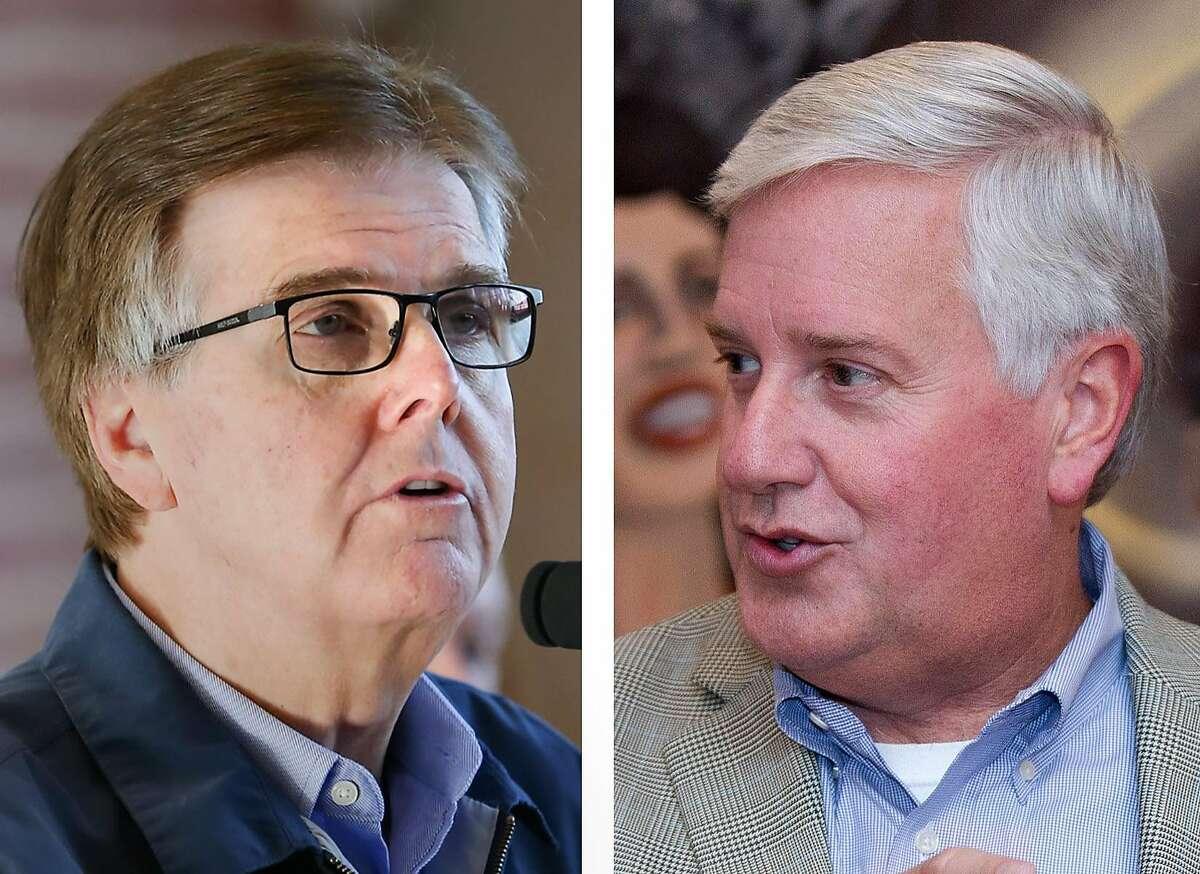 Lt. Gov. Dan Patrick, a Republican, left, and his Democratic challenger Mike Collier.