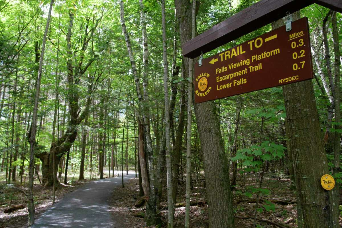 A view of the path at Kaaterskill Falls on Wednesday, Sept. 13, 2017, in Hunter, N.Y. (Paul Buckowski / Times Union)